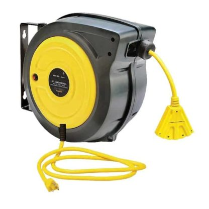 black and yellow cord reel