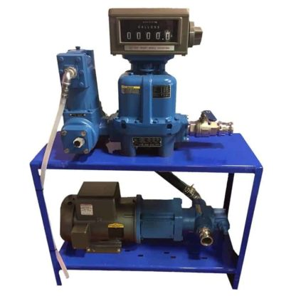 oil transfer pump and meter on a blue cart