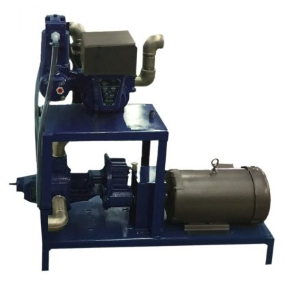 oil transfer pump on a blue stand