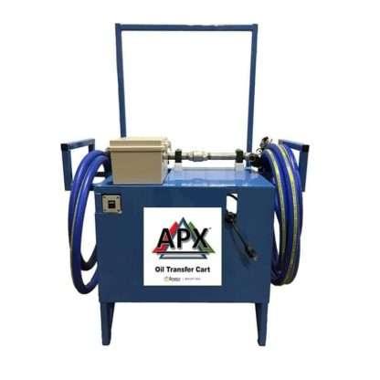oil transfer pump on a blue cart
