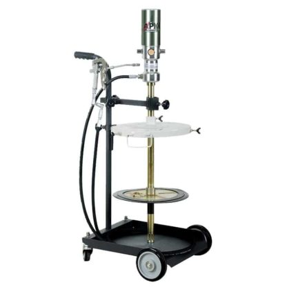 portable oil dispense cart with hose reel, oil pump, and oil meter