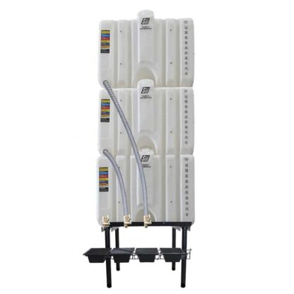 360 gallon three stack oil Cubetainer with spring release valves and drip tray kit