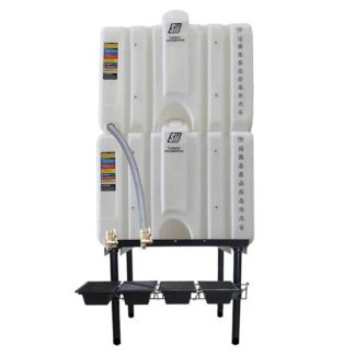 240 gallon two stack oil Cubetainer with spring release valves and drip tray kit