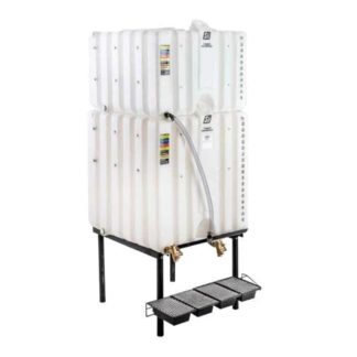 300 gallon two stack oil Cubetainer with spring release valves and drip tray kit