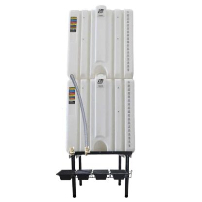 360 gallon two stack oil Cubetainer with spring release valves and drip tray kit