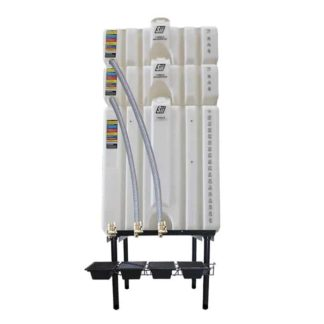 300 gallon three stack oil Cubetainer with spring release valves and drip tray kit