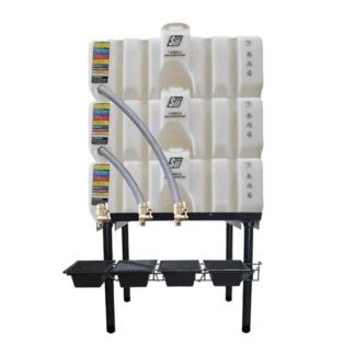 180 gallon three stack oil Cubetainer with spring release valves and drip tray kit