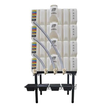 240 gallon four stack oil Cubetainer with spring release valves and drip tray kit