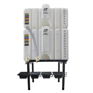 200 gallon two stack oil Cubetainer with spring release valves and drip tray kit
