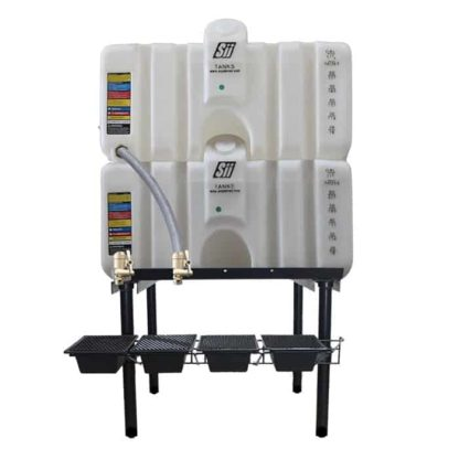 160 gallon two stack oil Cubetainer with spring release valves and drip tray kit