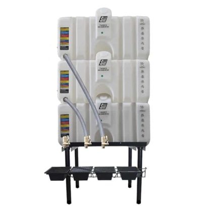 240 gallon three stack oil Cubetainer with spring release valves and drip tray kit