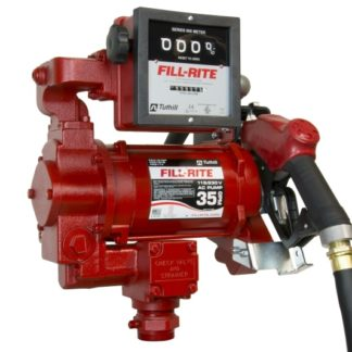 red fuel pump with mechanical flow meter