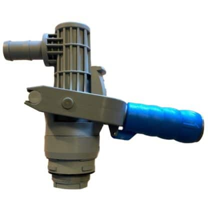 gray coupler with blue handle
